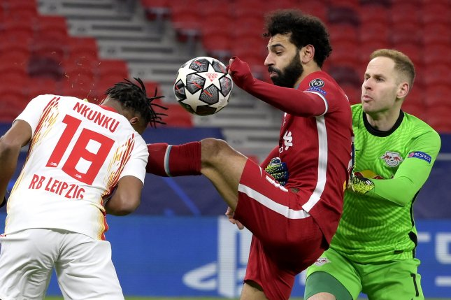 Liverpool's Mohamed Salah (C) scored the go-ahead goal in the Reds' win over RB Leipzig in a Champions League round of 16 second leg match Wednesday at Puskas Arena in Budapest. Photo by Szilard Koszticsak/EPA-EFE