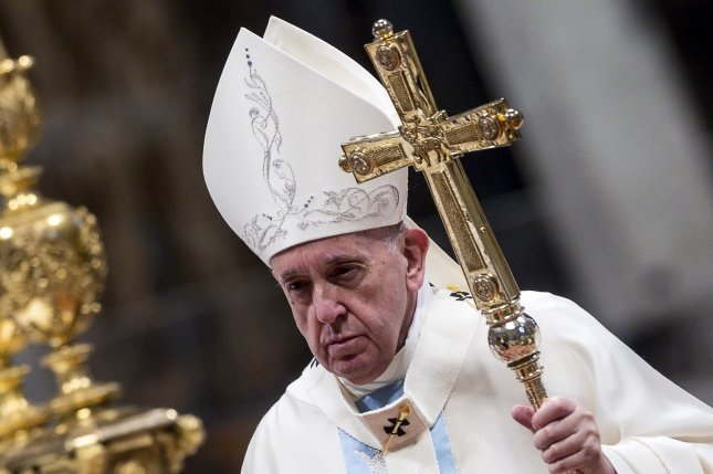 Pope Francis, shown here presiding at Holy Mass of the Solemnity of Mary Most Holy on the 53st World Day of Peace in Saint Peter's Basilica in the Vatican City on Wednesday, said Friday that governments and healthcare institutions should work to ensure all people have access to healthcare. Photo by Angelo Carconi/EPA-EFE