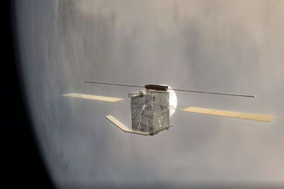 An illustration depicts the EnVision orbiter unfolding instruments as it nears Venus. Image courtesy of European Space Agency