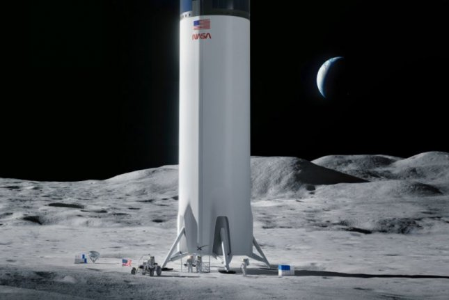 An illustration depicts a SpaceX Starship rocket outfitted as a lunar lander on the moon. Photo courtesy of SpaceX