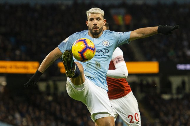 Manchester City's Sergio Aguero now ranks second all-time with 10 Premier League hat-tricks. Photo by Peter Powell/EPA-EFE