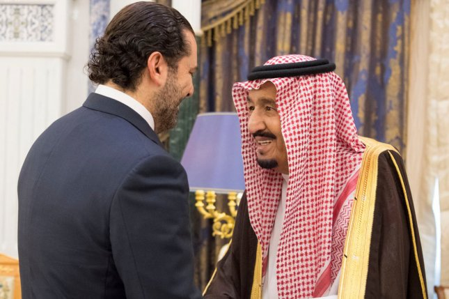 Saudi King Salman bin Abdulaziz Al Saud meets Monday with Saad Hariri, who resigned last Saturday as Lebanon's prime minister, in Riyadh, Saudi Arabia. Photo by Saudi Press Agency/EPA
