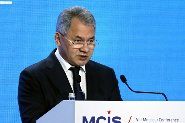 Russian Defense Minister Sergey Shoygu speaks during the Moscow Conference on International Security in Moscow. Photo by Yuri Kochetkov/EPA-EFE