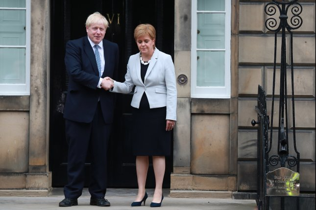 British Prime Minister Boris Johnson meets with Scottish First Minister Nicola Sturgeon at Bute House in Edinburgh, Scotland, on July 29, 2019. File Photo by Stewart Attwood/EPA-EFE