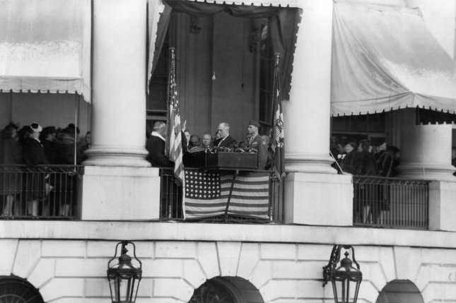 Franklin D. Roosevelt takes the oath of office at his fourth inauguration on January 20, 1945, at the White House. File Photo courtesy of FDR Library
