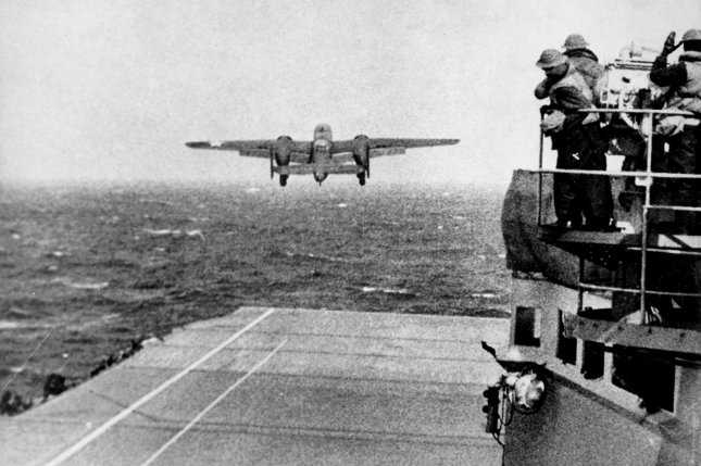 A U.S. Army Air Forces B-25B Mitchell bomber takes off from the USS Hornet (CV-8) aircraft carrier to take part in the first U.S. bombing of Japan on April 18, 1942. The surprise attack, retaliation for the Japanese raid on Pearl Harbor on Dec. 7, 1941, would go down in history as the Doolittle Raid, named after the man who commanded it, Lt. Col. James Doolittle. Photo by NARA