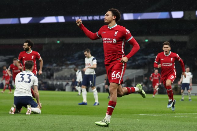 Liverpool's Trent Alexander-Arnold had a goal and an assist in a Premier League win over Tottenham Hotspur on Thursday in London. Photo by Catherine Ivill/EPA-EFE