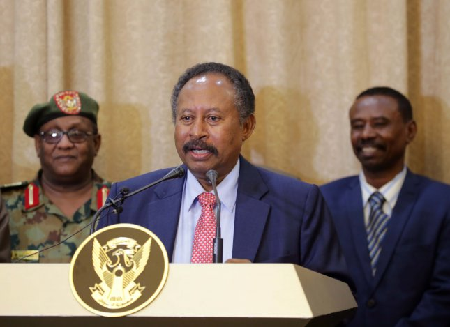 Sudan's new Prime Minister Abdalla Hamdok addresses the media following his swearing-in at the presidential palace in Khartoum, Sudan, on Wednesday. Photo by Amel Pain/EPA-EFE