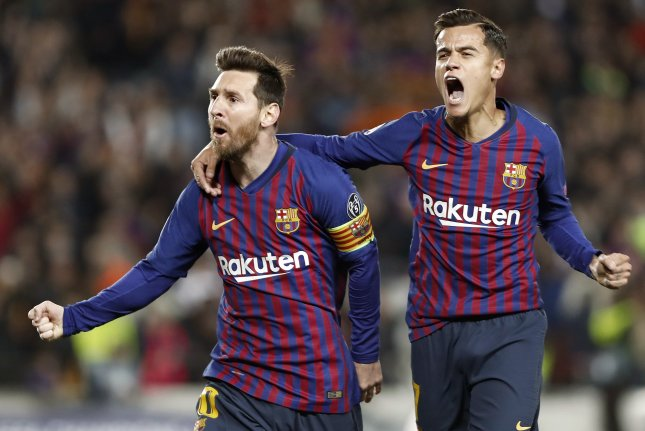 FC Barcelona teammates Lionel Messi (L) and Philippe Coutinho appeared on the top-10 goals scored list for the 2018-2019 UEFA Champions League. Photo by Andreu Dalmau/EPA-EFE