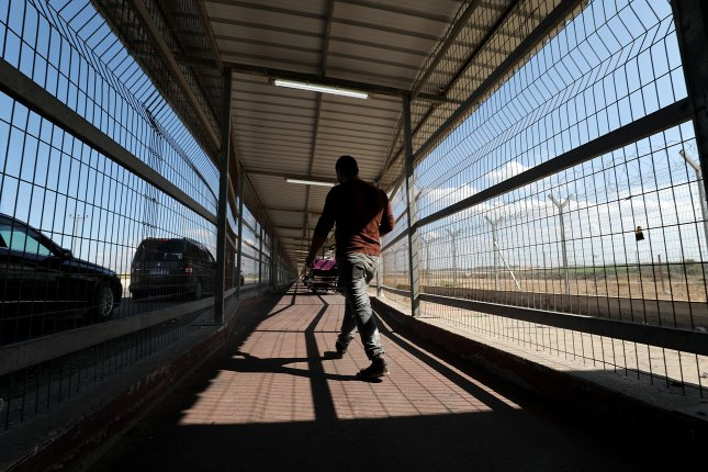 Israel closed the only pedestrian crossing with the Gaza Strip Sunday in response to violent protests along the border fence Friday, an Israeli Defense Ministry spokeswoman. File photo by Mohammed Saber/EPA