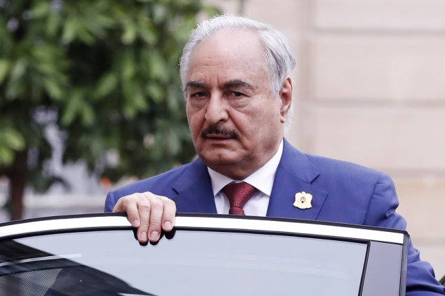 Insurgent Libyan leader Khalifa Haftar left the talks in Moscow without signing a deal already approved by Tripoli's government. File Photo by Etienne Laurent/EPA-EFE