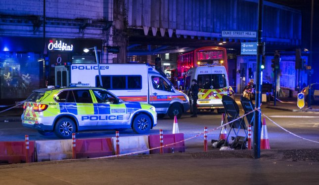 Police units respond to London Bridge after reports of a van hitting pedestrian on the bridge in central London on June 3, 2017. This year, the murder rate has increased in London, exceeding New York over the past two months. File Photo by Will Oliver/EPA