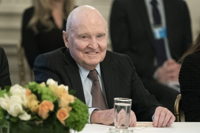 Former Chairman and CEO of General Electric Jack Welch, shown attending a business leaders forum at the White House in 2017, has died, GE said Monday. Photo by Michael Reynolds/EPA