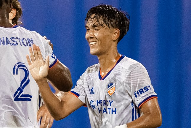 FC Cincinnati striker Yuya Kubo scored his team's first goal in a win against the New York Red Bulls Wednesday in Orlando, Fla. Photo courtesy of Jared Martinez and Devin L'Amoreaux/MLS