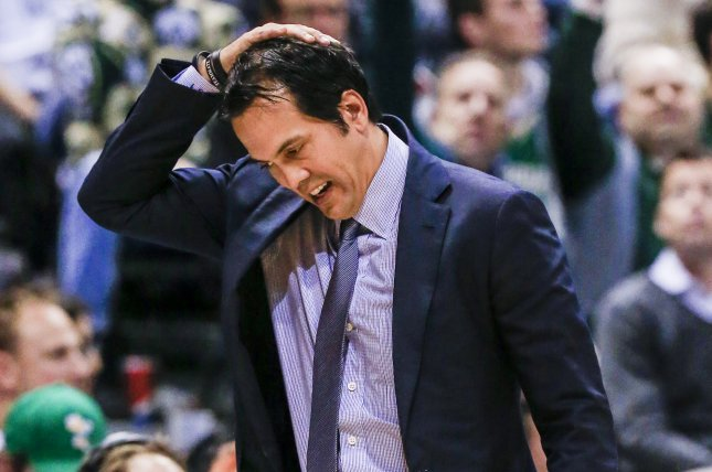Miami Heat head coach Erik Spoelstra reacts to his team's play against the Milwaukee Bucks in the first half of their NBA game at the BMO Harris Bradley Center in Milwaukee, Wisconsin, USA, 13 January 2017. EPA/Tannen Maury