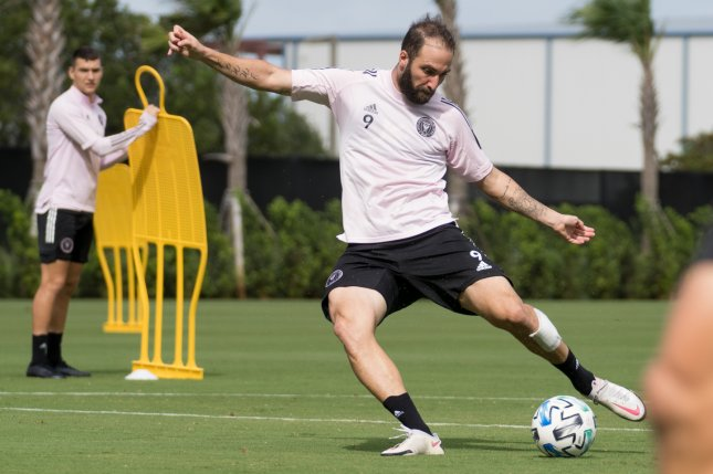 Inter Miami's Gonzalo Higuain, shown at a Nov. 5 practice, will not play in an MLS Playoffs play-in game Friday due to a COVID-19 outbreak on the team. Photo courtesy of Inter Miami/MLS