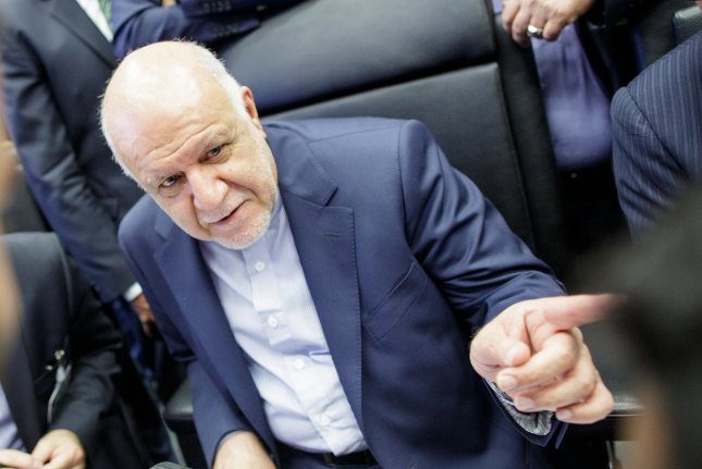 Iran's Minister of Petroleum, Bijan Namdar Zangeneh, warned Monday that no single country has the capacity to replace Iranian oil production. Photo by Lisi Niesner/EPA