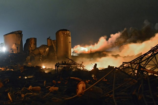 Firefighters were attempting to put out a blaze at a fertilizer plant in West, Texas, when it exploded, killing 15 people April 17, 2013. File Photo by Larry W. Smith/EPA