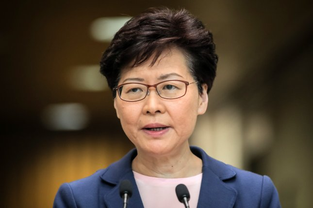 Hong Kong's chief executive Carrie Lam said police are being intimidated and threatened in the city amid an ongoing crackdown against pro-democracy protesters. File Photo by Vivek Prakash/EPA-EFE