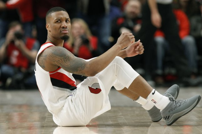 Portland Trail Blazers guard Damian Lillard is now averaging a career-high 27.9 points per game after scoring a career-high 61 points against the Golden State Warriors Monday in Portland. Photo by Steve Dipaola/EPA-EFE