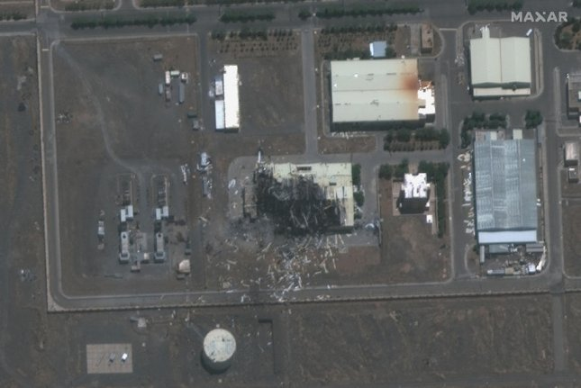 A photo made available by MAXAR Technologies shows a satellite image of a destroyed building at the Natanz uranium enrichment facilities south of Tehran on July 8. File satellite image courtesy of Maxar Technologies/EPA-EFE