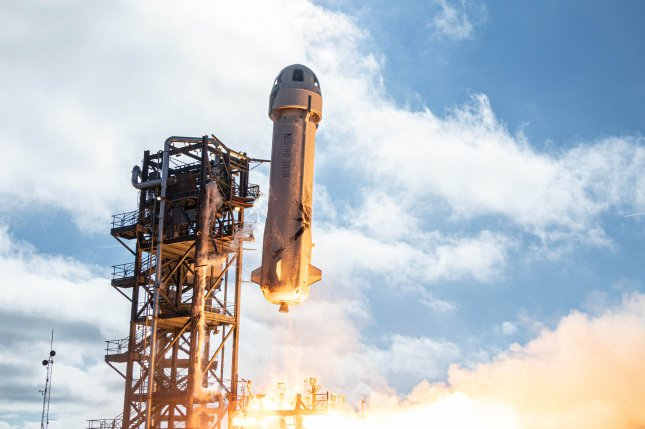 Blue Origin launched its New Shepard rocket and capsule from the company's launch site in West Texas on January 23, 2019. The company is auctioning off a seat aboard the first manned New Shepard flight next month. File Photo courtesy of Blue Origin