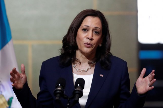 Vice President Kamala Harris speaks during a press conference after a meeting with the Guatemalan President Alejandro Giammattei at the National Palace of Culture in Guatemala City on Monday. Photo by Esteban Biba/EPA-EFE