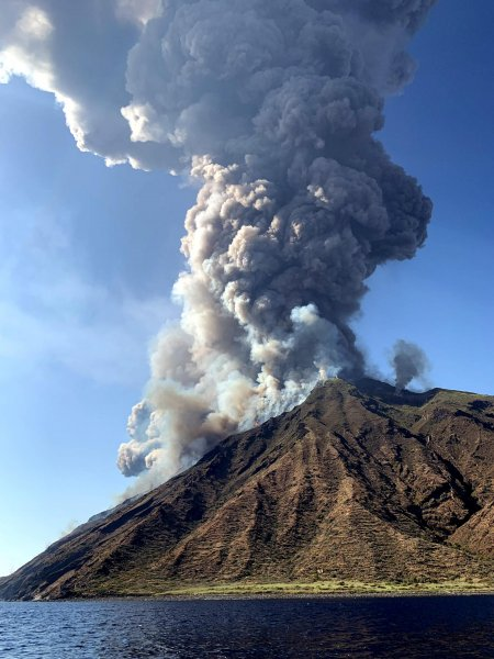 One person died and two more were injured after the Stromboli volcano erupted on Wednesday. Photo by Mario Calabresi/EPA