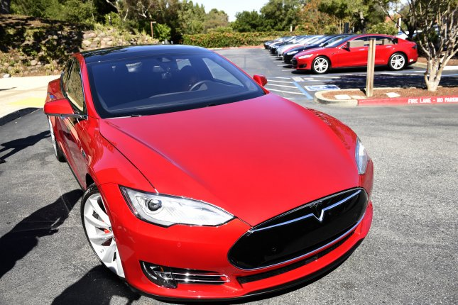 A Tesla Motors Model S vehicle is pictured at the company's headquarters in Palo Alto, Calif. File Photo byJohn G. Mabanglo/EPA