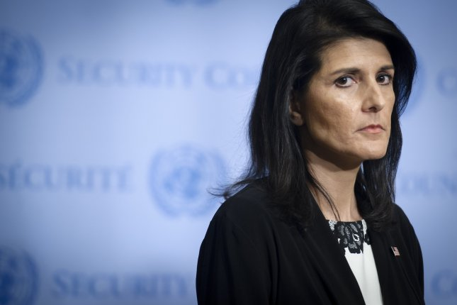 Nikki R. Haley, United States Permanent Representative to the UN, speaks to journalists on March 8 following closed-door Security Council consultations. She said Sunday there is no love between the United States and Russia. Photo by Manuel Elias/UN/UPI