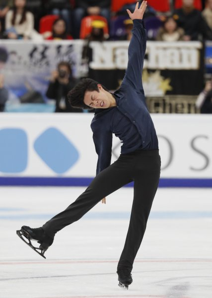 Nathan Chen of Team USA performs during the men's free skate at the Rostelecom Cup on Saturday in Moscow. Chen took the gold medal. Photo by Yuri Kochetkov/EPA-EFE