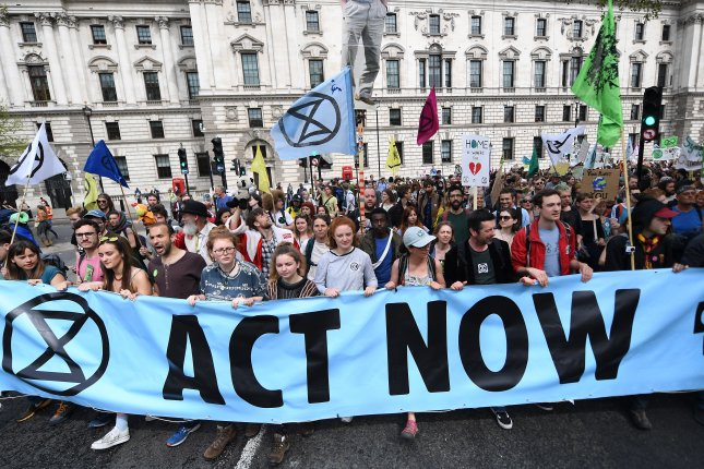 A new report Tuesday said Britain cannot become climate neutral by 2050 without dramatic highly speculative lifestyle changes. The results fall against environmental groups like Extinction Rebellion, shown protesting in 2019, which demands the country becomes carbon neutral sooner. Photo by Andy Rain/EPA-EFE
