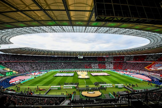 Bundesliga facilities like Hertha's Olympic Stadium in Berlin, Germany, will open for games on May 16 after the league was suspended due to the coronavirus pandemic. Photo by Filip Singer/EPA