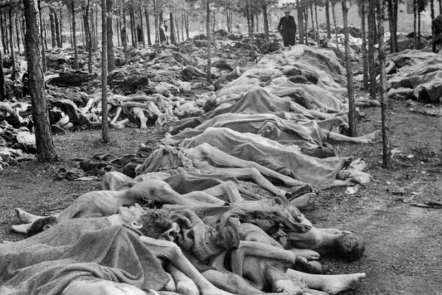 About 60,000 people await burial at the Nazi Bergen-Belsen concentration camp on April 15, 1945, in northern Germany after Adolf Hitler's secret police surrendered to British troops. The victims were among millions of Jews exterminated during the Holocaust by Hitler's regime in camps across Eastern Europe -- including perhaps its most infamous, Auschwitz, near Krakow, Poland. UPI Photo/File