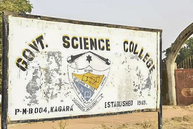 A sign for the Government Science College is pictured Thursday in Kagara, Niger State, Nigeria, one day after a group of gunmen abducted students and teachers from the boarding school. At least one student was killed. Photo by EPA-EFE