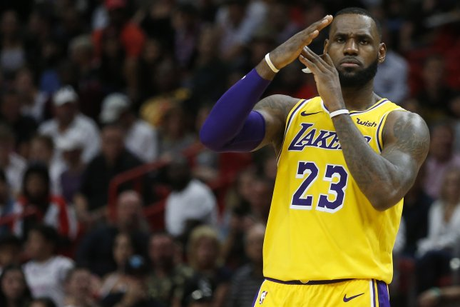 Los Angeles forward LeBron James had a game-high 36 points and had 10 rebounds and four assists in a win against the Chicago Bulls Tuesday in Chicago. Photo by Rhona Wise/EPA-EFE