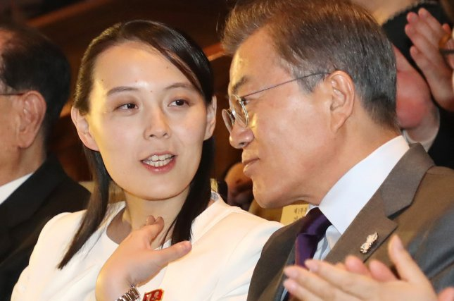 South Korean President Moon Jae-in (R) listens to the sister of North Korean leader Kim Jong-un, Kim Yo-jong, as they jointly attend a concert, staged by the North's Samjiyon Orchestra, at the National Theater of Korea in Seoul, South Korea, 11 February 2018. Photo Courtesy of Yonhap.