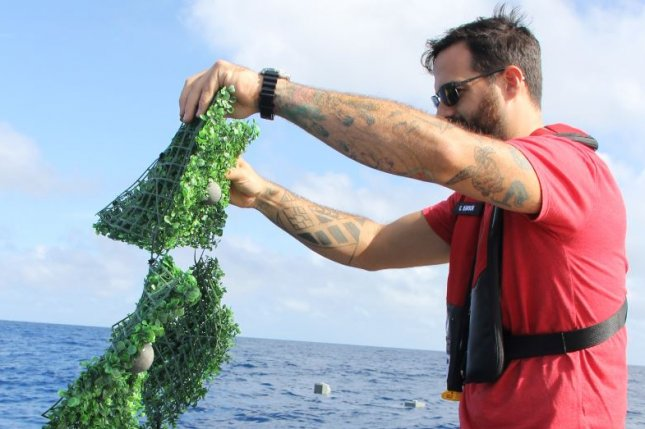 Researchers with National Oceanic and Atmospheric Administration deploy plastic mats in the Caribbean in 2019 as part of a study on the movement of floating items by University of Miami's Rosentstiel School of Marine and Atmospheric Science. Photo courtesy of NOAA