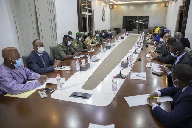 Coup leaders meet Saturday with a delegation of West African States in Bamako, Mali. The delegation is attempting to reverse the coup's ouster of Mali's president. Photo by H. Diakite/EPA-EFE