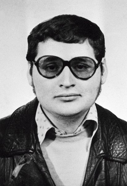 An undated black-and-white file handout picture shows convicted Venezuelan terrorist Ilich Ramirez Sanchez, also known as Carlos the Jackal. He faced trial again on Monday, this time for for allegedly throwing a grenade in a Paris shopping center in 1974. File Photo by handout/EPA