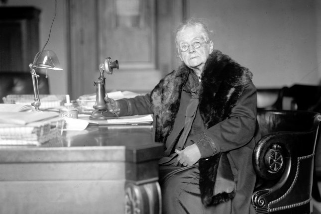 Sen. Rebecca Felton of Georgia is pictured at her desk in Washington, D.C. On October 3, 1922, Mrs. Felton was chosen to fill the seat left vacant following the premature death of Sen. Thomas E. Watson, becoming the first woman to serve in the United States Senate. She was sworn in on November 21, 1922, and served 24 hours. Photo by National Photo Company/Library of Congress/UPI