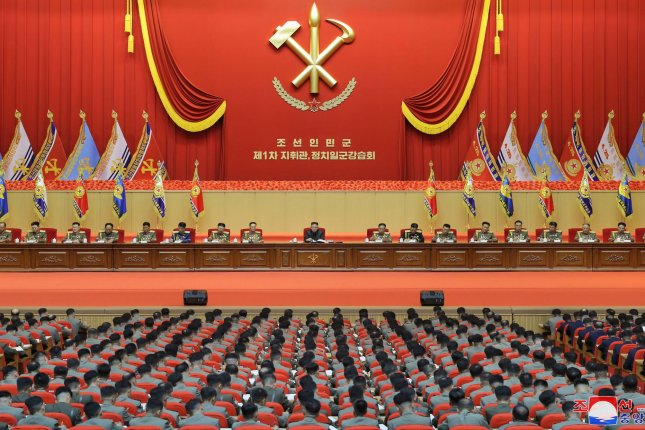 Kim Jong Un (C) presided over North Korea's first-ever workshop for military commanders last week, according to KCNA. File Photo by KCNA/EPA-EFE