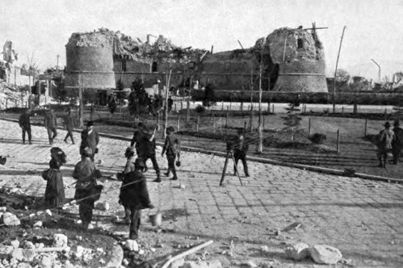The ruins of Castle Orsini in Avezzano, Italy, following the 1915 earthquake. File Photo courtesy E. Navone & Co