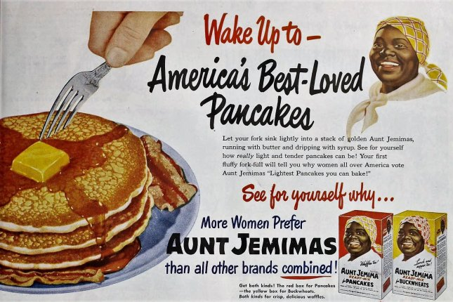 An advertisement for Aunt Jemima pancake mix is seen in a 1951 issue of Ladies Home Journal Magazine. Image via