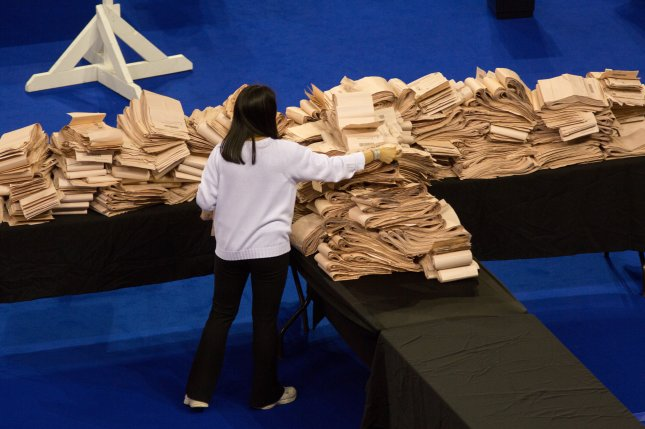 A staff member counts the votes of the Scottish elections at the Emirates in Glasgow, Scotland, on May 7. The elections were a target of Iranian cyberattacks. File Photo by Robert Perry/EPA-EFE