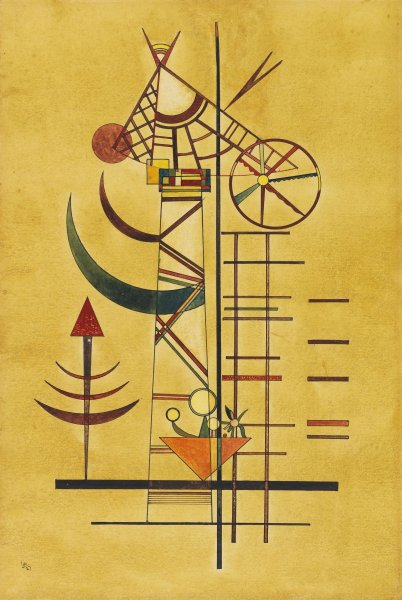 The 1927 Wassily Kandinsky painting, Gebogene Spitzen (Curved Tips), was believed to be lost, but turned up after 70 years in the estate of a German collector. File Image courtesy of Ketterer Kunst