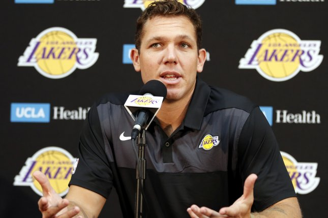 Los Angeles Lakers coach Luke Walton participates in Media Day on September 24 at UCLA Heath Training Center in El Segundo, Los Angeles, Calif. Photo by Mike Nelson/EPA-EFE