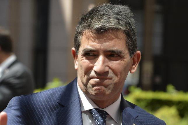 Uruguayan Vice President Raul Sendic arrives at European Union and of the Community of Latin American and Caribbean States summit in Brussels, Belgium, on June 10, 2015. Sendic resigned Saturday amid allegations he misused a company credit card while working for a state-owned oil company. File Photo by Stephanie Lecocq/EPA