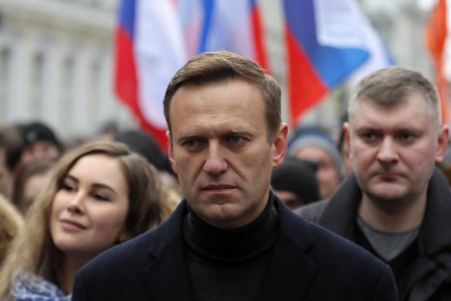 Russian opposition leader Alexei Navalny is seen at a march in Moscow, Russia, on February 29. He is now being treated for poisoning in Berlin, Germany. File Photo by Yuri Kochetkov/EPA-EFE