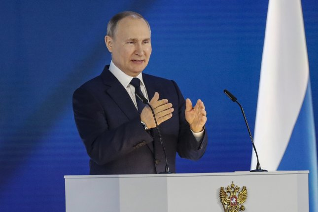 Russian President Vladimir Putin delivers his annual address to the Federal Assembly in Moscow in April. Although Russia signed an economic agreement with Iran targeting over $25 billion in trade, the actual figure is below $2 billion. File Photo by Maxim Shipenkov/EPA-EFE